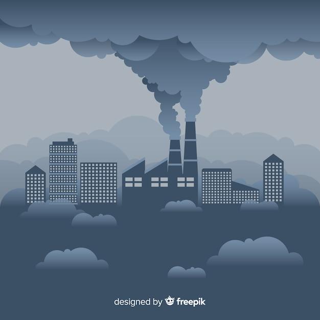 フラットデザインの煙を引く工場 無料ベクター