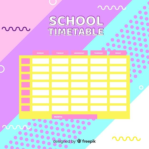 フラットデザイン学校時刻表テンプレート 無料ベクター
