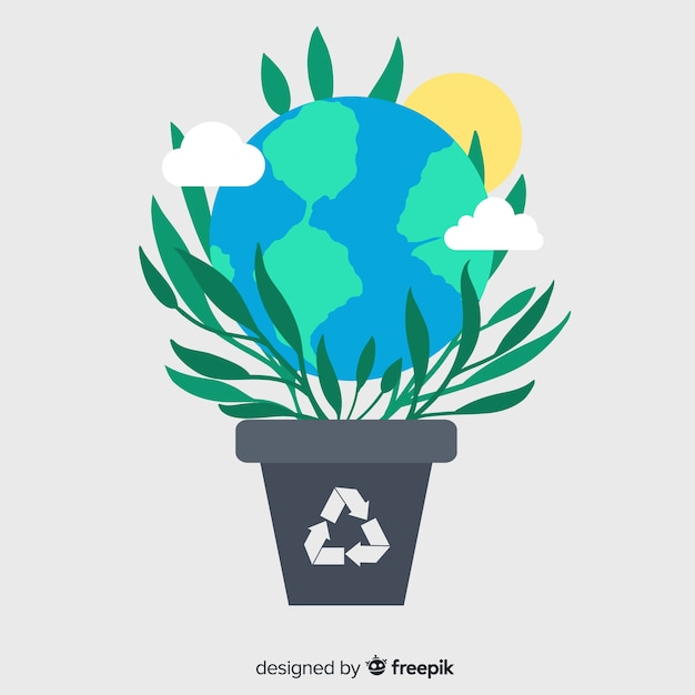 エコロジーコンセプトの背景フラットスタイル 無料ベクター