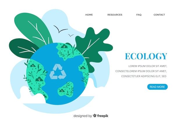 Шаблон целевой страницы экологической концепции Бесплатные векторы