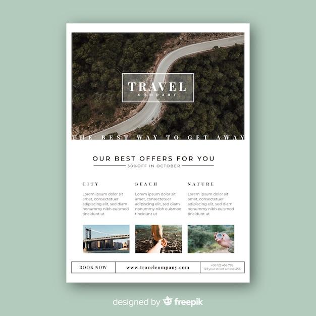 Шаблон туристической брошюры с фотографией Бесплатные векторы