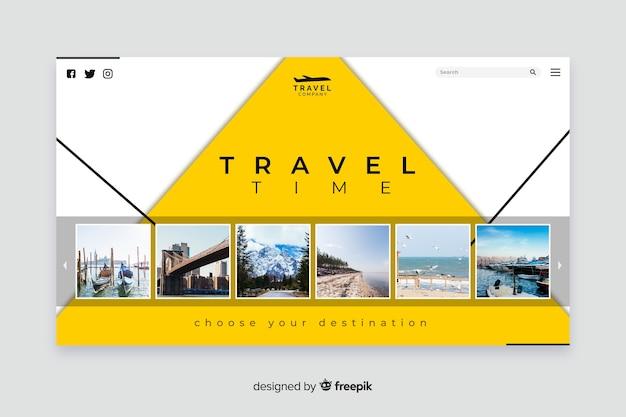 写真付きの旅行用ランディングページ 無料ベクター