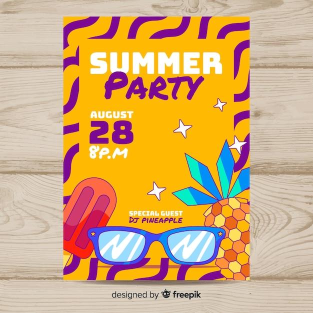 手描き夏パーティーポスターテンプレート 無料ベクター