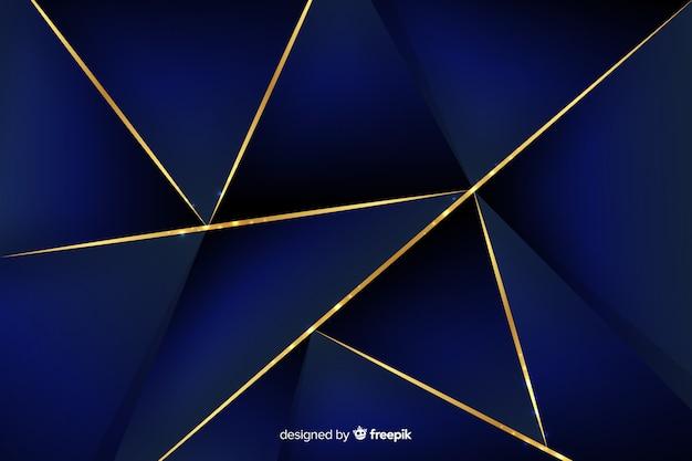エレガントなダークブルーの多角形の背景 無料ベクター