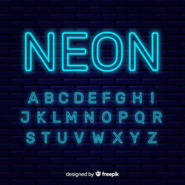 Неоновый алфавит шаблон плоский дизайн Бесплатные векторы