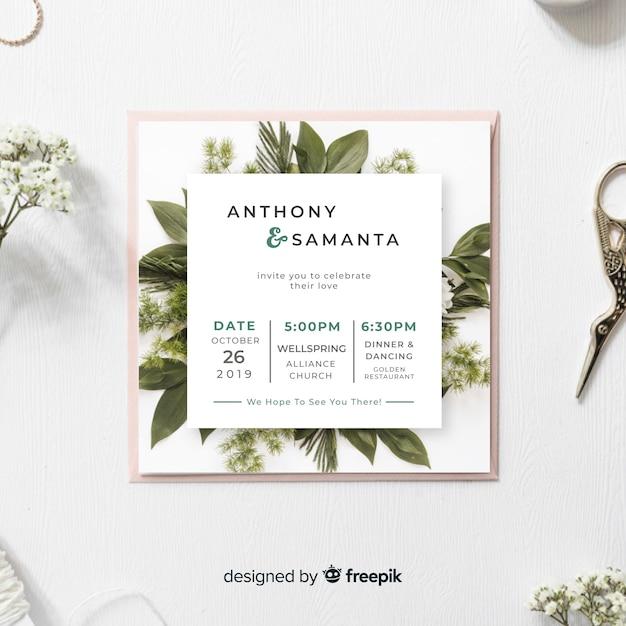 葉の結婚式の招待状のテンプレート 無料ベクター