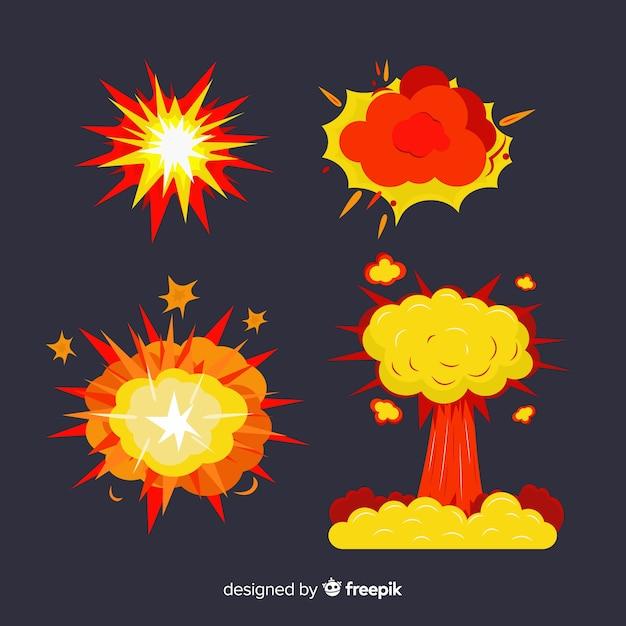 爆弾パックと爆発効果 無料ベクター