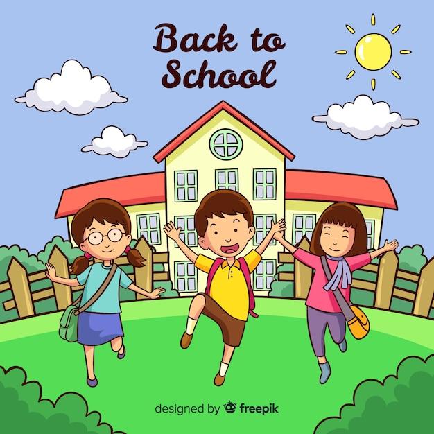 学校の背景に引き戻される手 無料ベクター