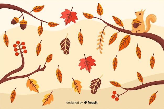ビンテージ秋の背景ビンテージスタイル 無料ベクター
