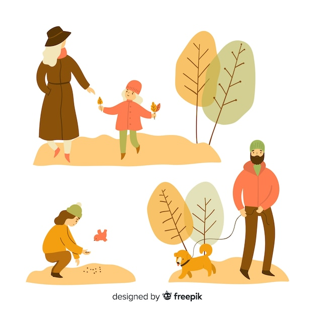 秋の公園の人々のセット 無料ベクター