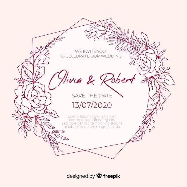 結婚式の招待状のテンプレートフラットデザイン 無料ベクター