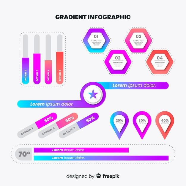 グラデーションインフォグラフィック要素のセット 無料ベクター