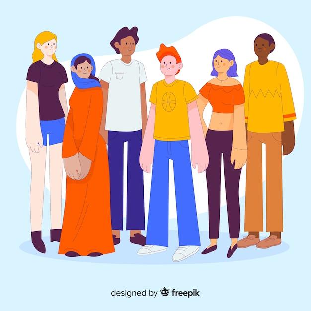 フラットなデザインの人々の多民族のグループ 無料ベクター
