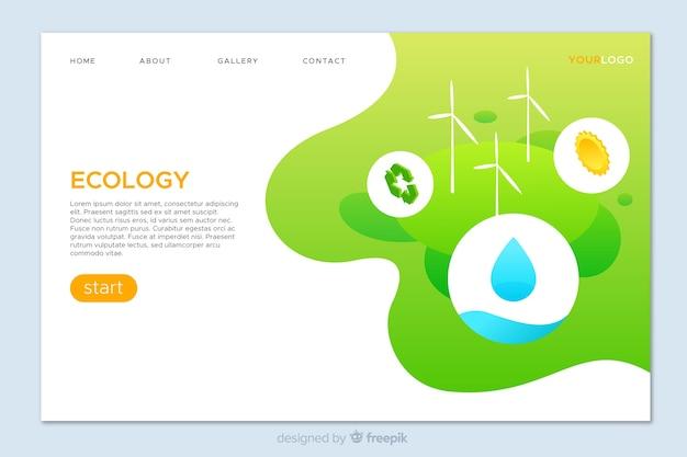エコロジーコンセプトランディングページテンプレート 無料ベクター