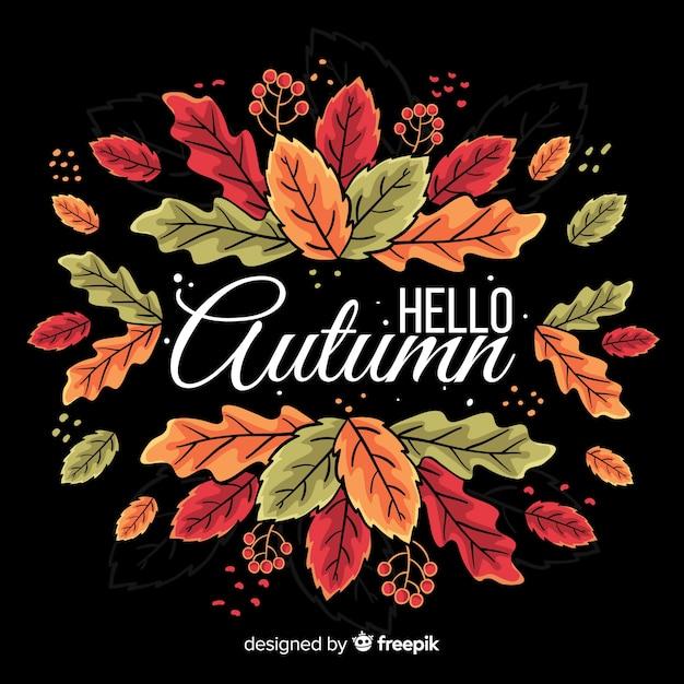 手描き秋の葉の背景 無料ベクター