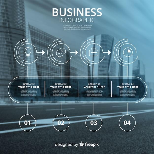 写真とビジネスインフォグラフィックテンプレート 無料ベクター