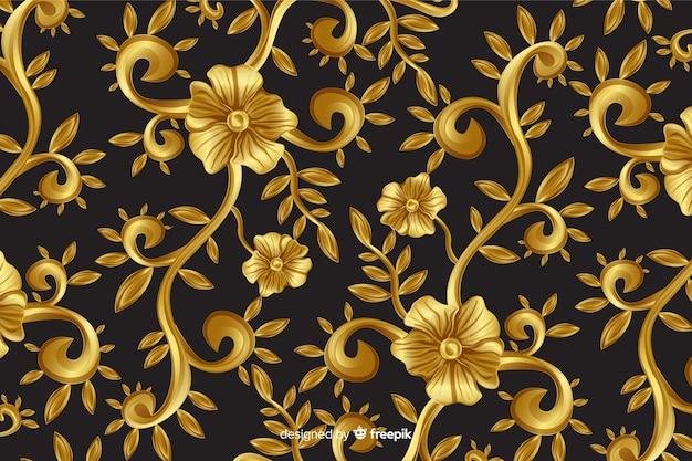 黄金の装飾用の花の装飾的な背景 無料ベクター