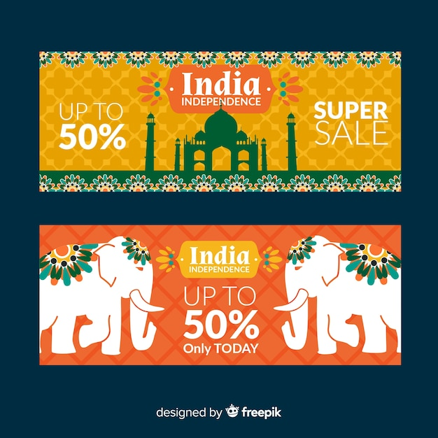 インドの独立記念日セールのバナー 無料ベクター