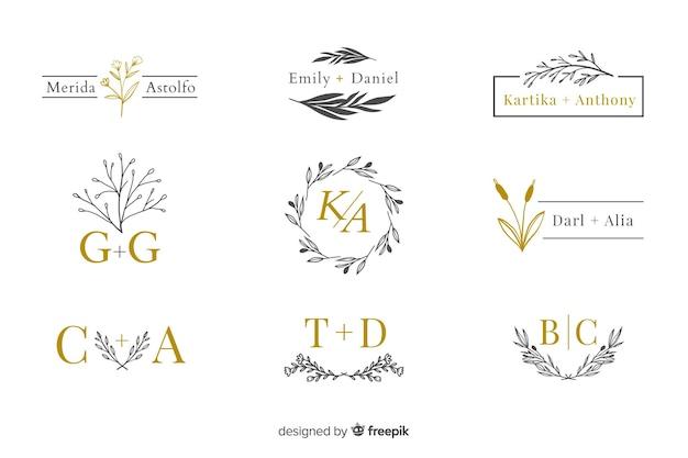 Коллекция свадебных вензелей, логотипов Бесплатные векторы