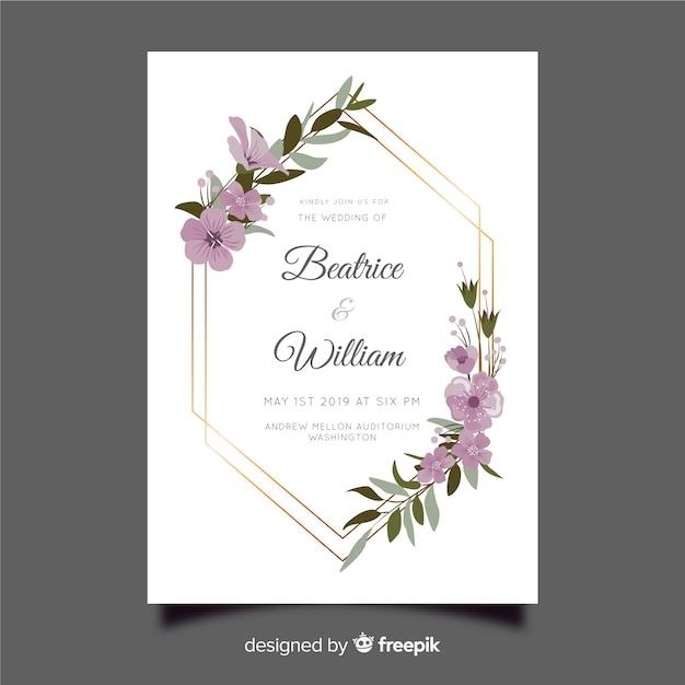 Цветочная рамка свадебного приглашения Бесплатные векторы