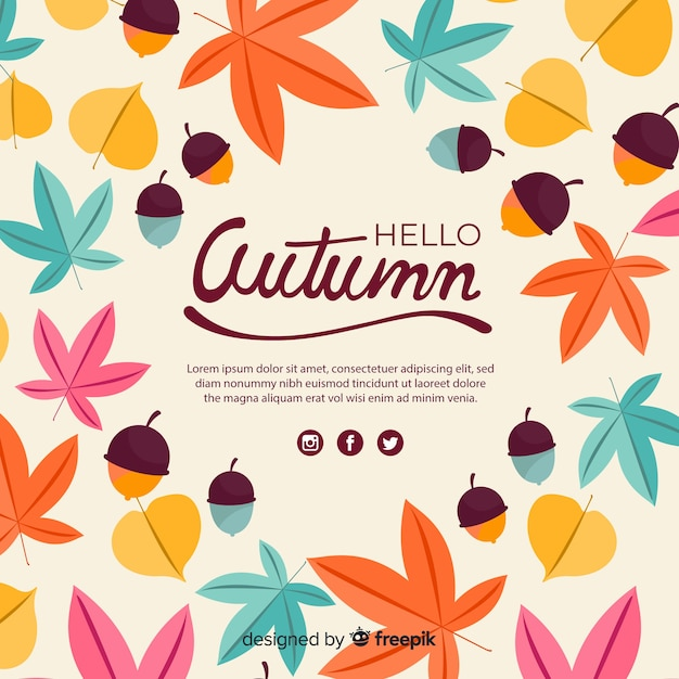 秋のカラフルな背景のフラットデザイン 無料ベクター