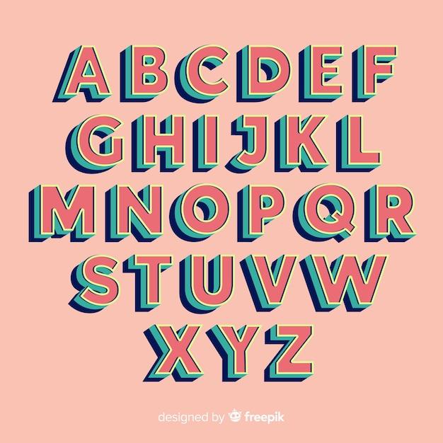 Ретро алфавит шаблон в стиле ретро Бесплатные векторы