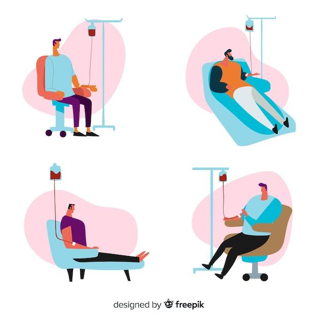 献血をする人々のパック 無料ベクター