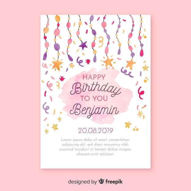 水彩の誕生日の招待状カードのテンプレート 無料ベクター