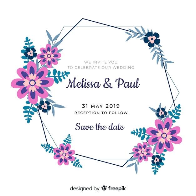花のフレームの結婚式の招待状のテンプレート 無料ベクター