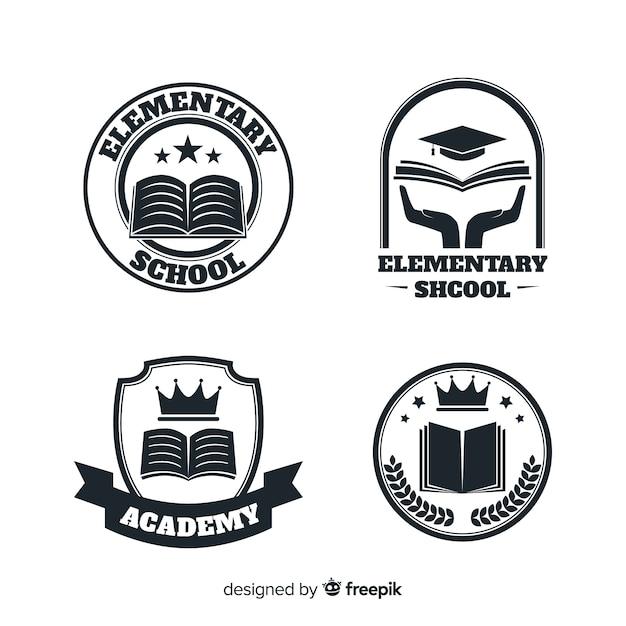 Набор логотипов или значков для академий или начальной школы Бесплатные векторы