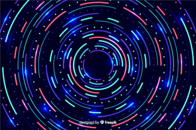 幾何学的なカラフルなネオン図形の背景 無料ベクター