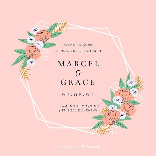 花のフレームの結婚式の招待カード 無料ベクター
