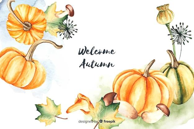 秋の装飾的な背景の水彩風 無料ベクター