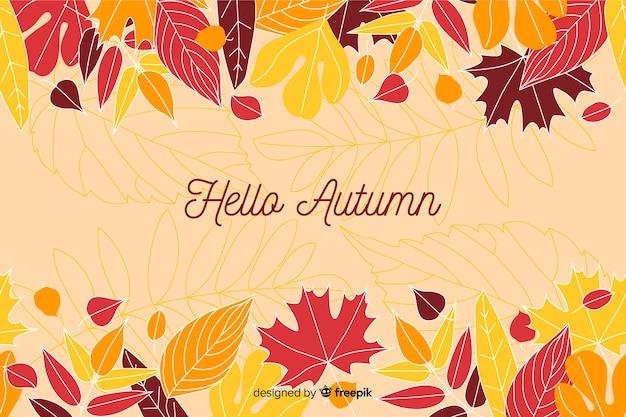 秋の装飾的な背景のフラットスタイル 無料ベクター