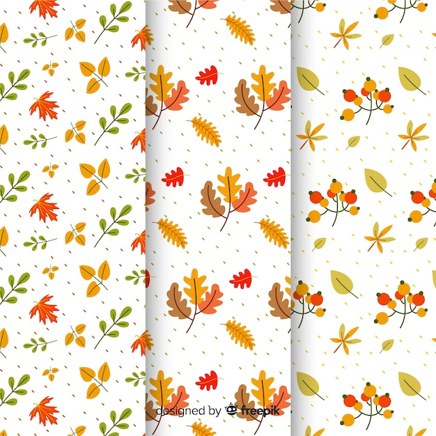 秋のパターンのフラットデザインのコレクション 無料ベクター