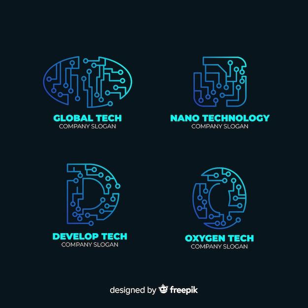 グラデーションテクノロジーブルーロゴコレクション 無料ベクター