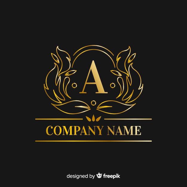 黄金のエレガントな大文字のロゴのテンプレート 無料ベクター