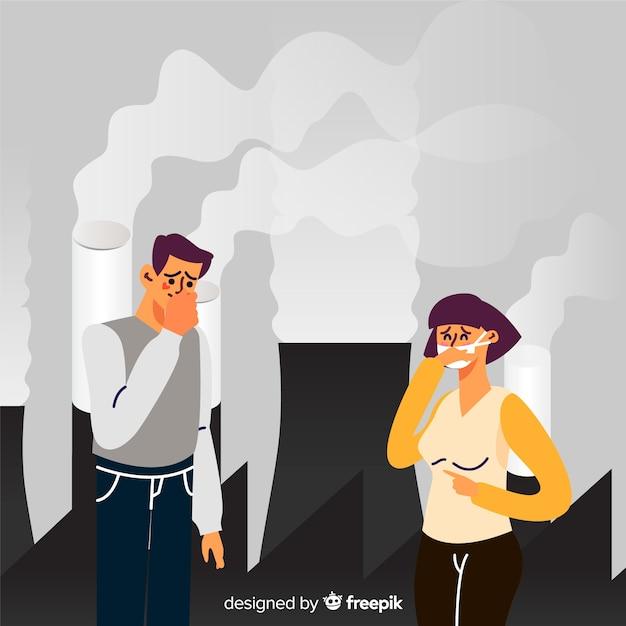 Концепция загрязнения с людьми перед электростанцией Бесплатные векторы