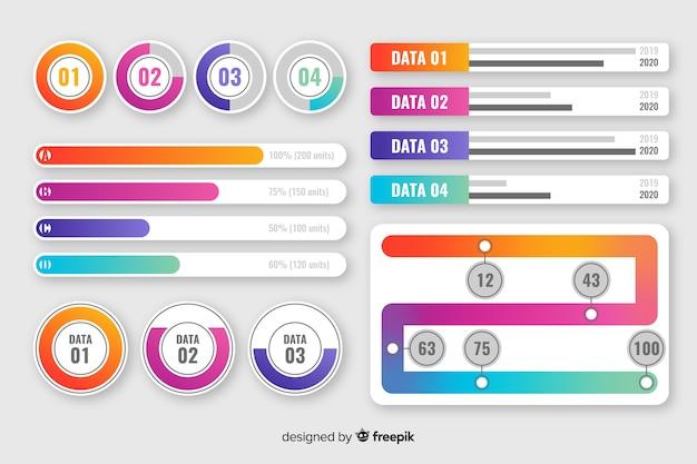Коллекция градиента инфографики элементов Бесплатные векторы