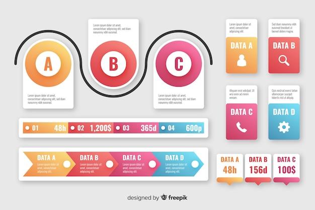 グラデーションインフォグラフィック要素のコレクション 無料ベクター
