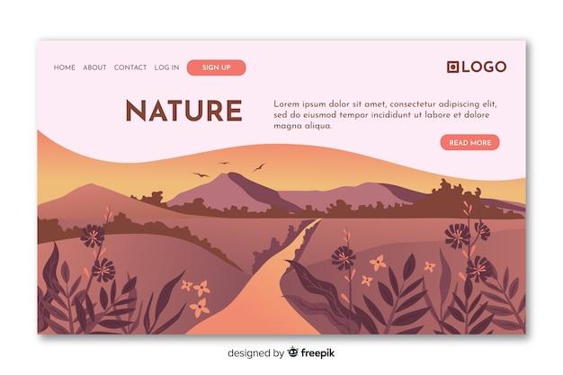 フラット自然ランディングページテンプレート 無料ベクター