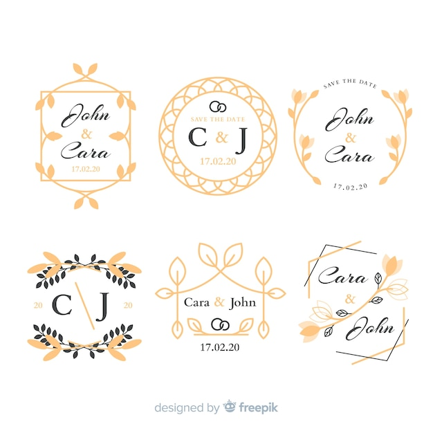 結婚式のモノグラムロゴのパック 無料ベクター