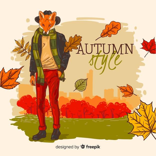 秋の背景手描きスタイル 無料ベクター