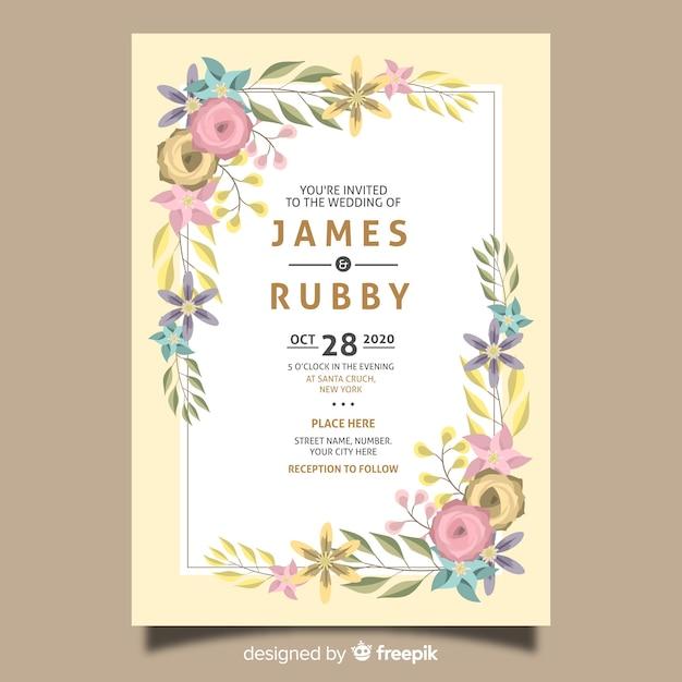 花の結婚式の招待カードテンプレート 無料ベクター