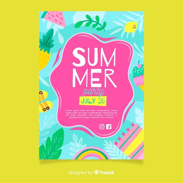 Летняя вечеринка плакат или флаер шаблон готов к печати Бесплатные векторы