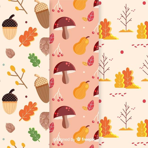 秋の要素パターンコレクションフラットデザイン 無料ベクター