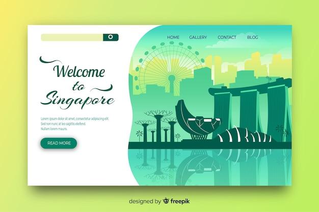 Добро пожаловать в шаблон целевой страницы сингапура Бесплатные векторы