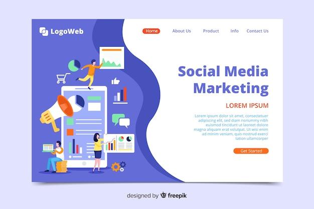 Шаблон целевой страницы цифрового маркетинга Бесплатные векторы