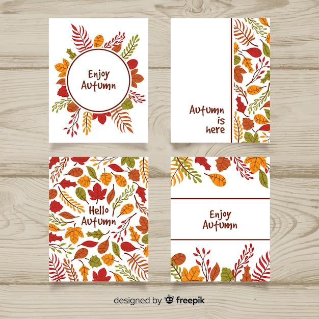 手描き秋カードのパック 無料ベクター