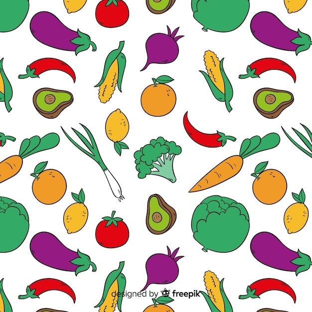 手描き野菜パターン背景 無料ベクター